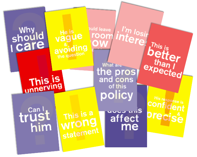 TV Debate Flash Cards for Viewer Reaction